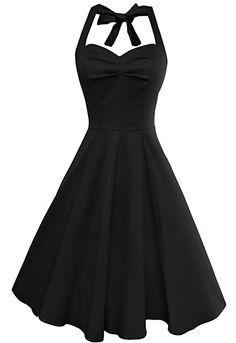 Anni Coco® Women's Sexy Halter Neck Polka Dot Dress 1950s Vintage Dress Rockabilly Cocktail Swing Dresses: Amazon.co.uk: Clothing