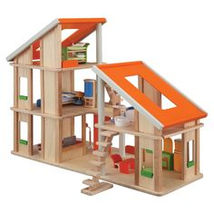 Give your child the key to a world of imaginary adventures with our elaborate, creative Chalet Dollhouse With Furniture by Plan Toys. The ultimate miniature liv