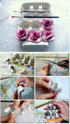 ruže z kartónu od vajíčok