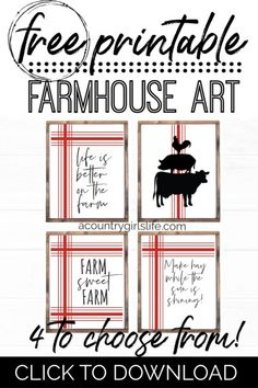 FREE Farmhouse Wall Art Printables - Sweet Quotes For Life on the Farm! - A Country Girl's Life Country Girl Life, Country Girl Quotes, Southern Quotes, Girl Sayings, The Farm, Farmhouse Wall Art, Farmhouse Decor, Vintage Farmhouse, Farmhouse Style