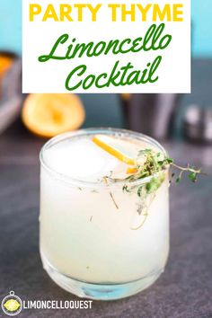 "This limoncello cocktail makes use of the huge piles of herbs growing in my garden. Now, despite having the appearance of lemonade and the presence of healthy veggies in the garnish this is a strong drink. That's where the ""party"" comes in. So enjoy this Purple Cocktails, Summer Cocktails, Cocktail Drinks, Cocktail Recipes, Drink Recipes, Cocktail Ideas, Fancy Drinks, Alcoholic Drinks, Limoncello Cocktails"