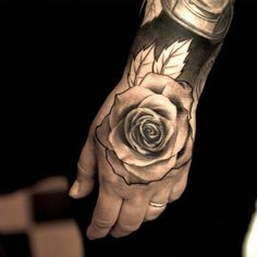 Lovely Rose Flower On Hand Tattoo For Men