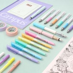 Give your desk a soft relaxing touch with these pastel-colored stationery picks. Move away from blinding neon ink by opting for a soft highlighter and keep your supplies organized inside a pretty pastel pen case. . See them here: http://to.jetpens.com/2jGNj0F . Clickable link in Instagram profile! . #pastel #pastelstationery #stationery #kawaii #pilotfrixion #pilotjuice