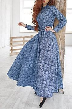 Stylish Stand Collar Long Sleeve Printed Maxi Dress For Women