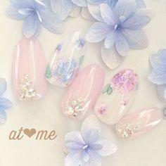 紫陽花ネイル♡たらしこみでふんわり紫陽花♡インスタ→at.me.nail