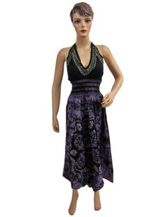 Womens Bohemian Black Blue Sundress Halter Neck Elastic Wiast Dress Mogul Interior, http://www.amazon.com/dp/B0085JG5GQ/ref=cm_sw_r_pi_dp_.flVpb0YXVRM1  $32.99