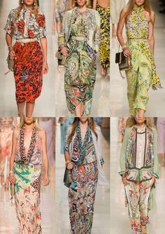 Etro S/S 2014-Sketchy Illustrations – Ethnic Block Prints – Morocan Influences – Over-scaled Paisley Prints – Pattern Patchwork – Border and Scarf Print L...