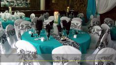 Teal white and damask wedding decor