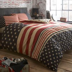 Navy 'Stars and Stripes' bed linen