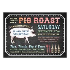 Chalkboard Pig Roast Invitations Classy Casual