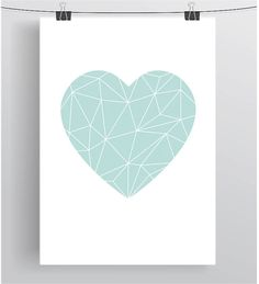 Mint Love Heart Poster Geometric Heart Print by PrintAvenue