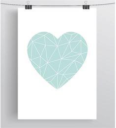 Mint Love Heart Poster Geometric Heart Print by PrintAvenue