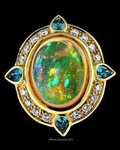 "Paula Crevoshay - - Mexican Water Opal ""N"", Zircon ""N"", Diamond ""N"" Ruby Jewelry, Fine Jewelry, Jewlery, Chasing Unicorns, Leaf Engagement Ring, White Gold Rings, Unique Rings, Gemstones, Ruby Rings"