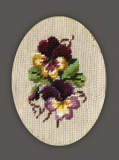 Cross Stitch Pansy Pansies Purple Flowers art. by OhioVintageBliss