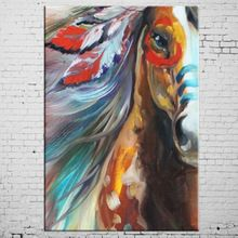 the best Free Shipping High Quality Horse Painting Abstract Modern Horse Oil Painting On Canvas Handmade Animal Indian Horse Paintings