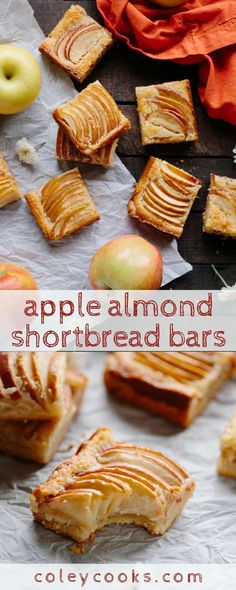 APPLE ALMOND SHORTBREAD BARS | Easy fall dessert recipe! Buttery shortbread crust with almond frangipane and tart apples baked in. #easy #fall #recipe #dessert #bars #cookies #apple #almond #frangipane | ColeyCooks.com Fall Dessert Recipes, Party Desserts, Fall Desserts, Holiday Recipes, Dessert Simple, Tart Recipes, Apple Recipes, Rhubarb Recipes, Fruit Recipes