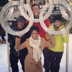 Willie Geist, Natalie Morales, Tamron Hall and Al Roker with the Olympic Rings on @TODAY. #Olympics2014