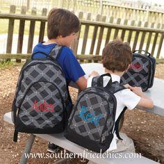 Monogrammed Black and Gray Trellis Backpack $37.99!