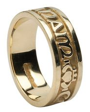 "Gaelic Wedding Band - ""my soul mate"" i love this pluss it has the claddaugh symbol on it!"