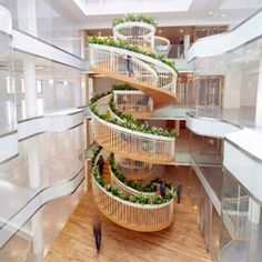 Paul Cocksedge's Living Staircase includes plants, a mini library and tea-brewing facilities
