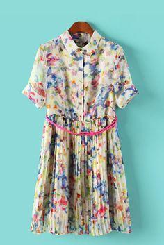 Short Sleeves Lapel Pleating Chiffon Dress