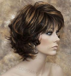 Classy and chic Everyday wig Multiple layers Brown auburn mix wavy flip ends lo Mom Hairstyles, Summer Hairstyles, Haircuts, Medium Hair Styles, Curly Hair Styles, Wig Companies, Short Wavy Hair, Short Wigs, Layered Hair