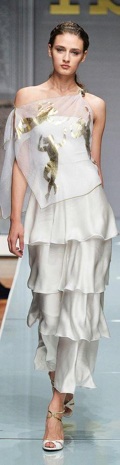 Roccobarocco Collection ~ Spring white Silk Maxi w Layered Ruffle Skirt + Sheer Overlay Top 2015