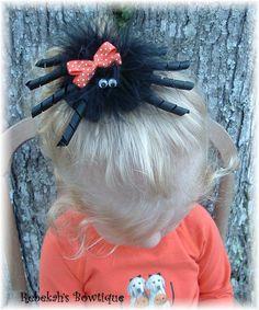 Halloween Black Orange SPIDER Hair Bow mom is sooo making this for L. Hair Ribbons, Diy Hair Bows, Ribbon Bows, Baby Bows, Baby Headbands, Halloween Hair Bows, Halloween Spider, Diy Halloween, Orange Spider