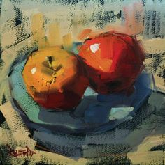 Two Apples, painting by artist Cathleen Rehfeld Apple Painting, Fruit Painting, Painting & Drawing, Watercolor Paintings, Original Paintings, Painting Still Life, Still Life Art, Painting Gallery, Art Gallery