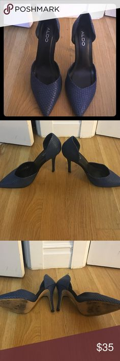 Pointed navy heels Has a snake print but goes well w neutral outfits! Probably worn 2 times. Aldo Shoes Heels