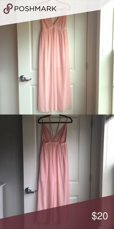 Pink maxi dress Sheer pink maxi dress with plunging v neck line and low set back. Only worn once and in great condition Hyfve Dresses Maxi