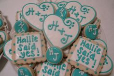 Cute way to announce your engagement or cute cookies to have on dessert table for engagement party Engagement Party Cookies, Engagement Brunch, Engagement Decorations, Engagement Cakes, Ceremony Decorations, Wedding Engagement, Engagement Parties, Engagement Ideas, Wedding Shower Cookies
