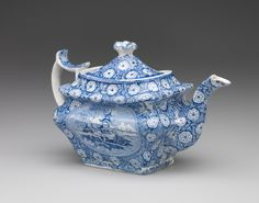 RISD Museum: Enoch Wood and Sons, manufacturer, English, 1818-1846. Teapot, ca. 1840. Earthenware with transfer-print decoration and glaze. Height: 16.5 cm (6 1/2 inches) (overall). Gift of the Estate of Mrs. Gustav Radeke 31.533