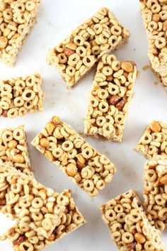 Honey Nut Cheerios Cereal Bars. Honey, coconut oil, honey roasted peanuts, and honey nut Cheerios all mix together in these delicious cereal snack bars!