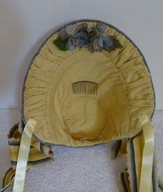 1860's Reproduction Spoon Bonnet Grey Silk Velvet