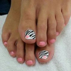 Pink Zebra Print Nails