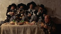 The Musketeers and D'artagnan's servant Planchet. Oliver Reed, Roy Kinnear and now Frank Finlay have left this stage. Oliver Reed, Richard Chamberlain, Raquel Welch, Frank Finlay, Richard Lester, Christopher Lee, The Three Musketeers, The Four, Character Costumes