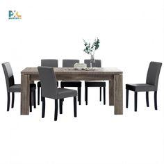Jedálenská zostava 1+6. Elegantný jedálenský stôl 170x79 cm s delenou doskou pre 8 osôb. Vo farbe tmavý dub spolu so 6 jedálenskými stoličkami. Stoličky sú čalúnené ekokožou v tmavo sivej farbe.