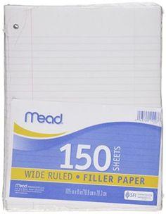 Mead Filler Paper Loose Leaf Paper Wide Ruled $1.52