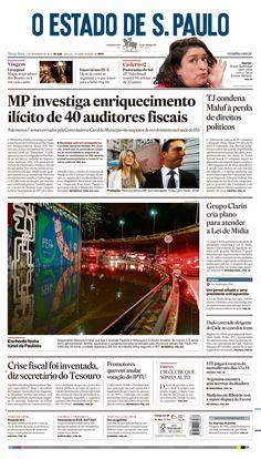 Primeira página do O Estado de S. Paulo de 5 de novembro de 2013. Principal notícia: MP investiga enriquecimento ilícito de 40 auditores fiscais: http://oesta.do/HxwrAW