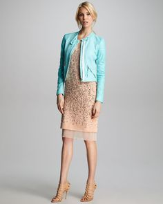 Snake-Embossed Leather Jacket & Studded Camisole Dress by Rebecca Taylor at Bergdorf Goodman. Studded Jacket, Leather Jacket, Shop The Runway, Rebecca Taylor, Spring Dresses, Work Fashion, Dress P, Lace Skirt, Style Me