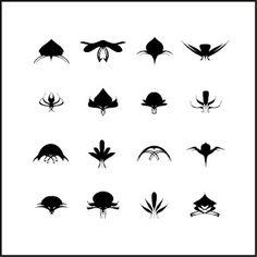 tatouage : motifs noir et blanc pour petits tatouages (tribal, monstres pour pied, dos, cheville, poignet ou ventre)