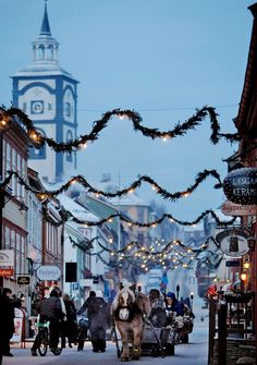 Christmas in Røros, Norway. Røros is one of the few mining towns in the world listed on UNESCO World Heritage List.