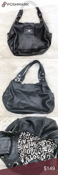 """MARC by MARC JACOBS Leather Shoulder Bag Leather shoulder bag from Marc by Marc Jacobs. Lovely patina, some marks on leather (see photos, all sides are accurately depicted). Flap and clasp closure. Two side pockets with key lock closure. Inside has some makeup stains on lining. Inside pocket for phone. Straps in great condition.   Original price $400! Approx. 14"""" x 10"""" x 6. Marc By Marc Jacobs Bags Shoulder Bags"""