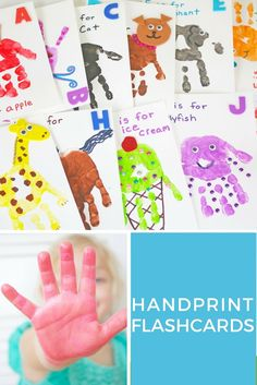 Make your own handprint alphabet flashcards with help from Shauna of @ellaandannie. These flashcards are a great art project for kids and toddlers. They help kids learn their ABC's while also encouraging creativity.