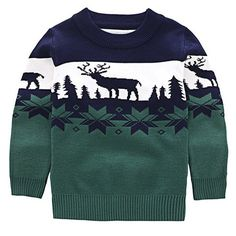 Stylish Long Sleeve Round Neck Elk Jacquard Christmas Sweater For Boys