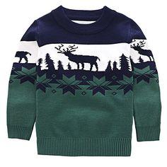 Stylish Long Sleeve Round Neck Elk Jacquard Christmas Sweater For Boys
