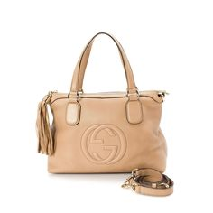 dc95203d9ec LXRandCo guarantees this is an authentic vintage Gucci Soho tote. This  stylish work bag in rose ballerine is made of leather.