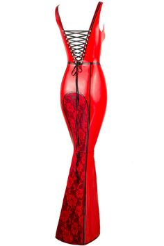 Hera Latex and Lace Full Length Fishtail Gown by collectivechaos