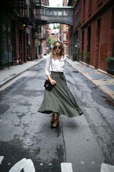 Olive Midi Skirt and Ivory Blouse   MEMORANDUM   NYC Fashion & Lifestyle Blog for the Working Girl